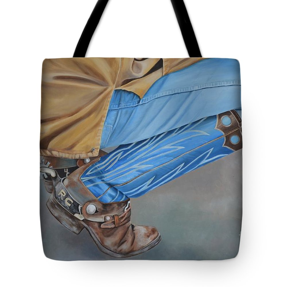 Art Tote Bag featuring the painting Spur Squatting by Mary Rogers