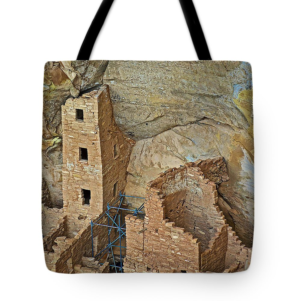 Square Tower House Closeup On Chapin Mesa Top Loop Road In Mesa Verde National Park Tote Bag featuring the photograph Square Tower House Closeup On Chapin Mesa Top Loop Road In Mesa Verde National Park-colorado by Ruth Hager
