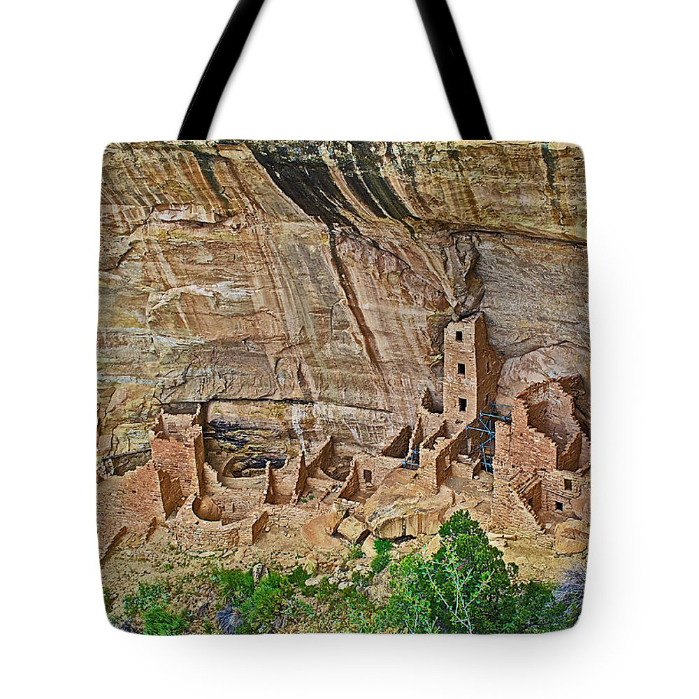 Square Tower House On Chapin Mesa Top Loop Road In Mesa Verde National Park Tote Bag featuring the photograph Square Tower House On Chapin Mesa Top Loop Road In Mesa Verde National Park-colorado by Ruth Hager