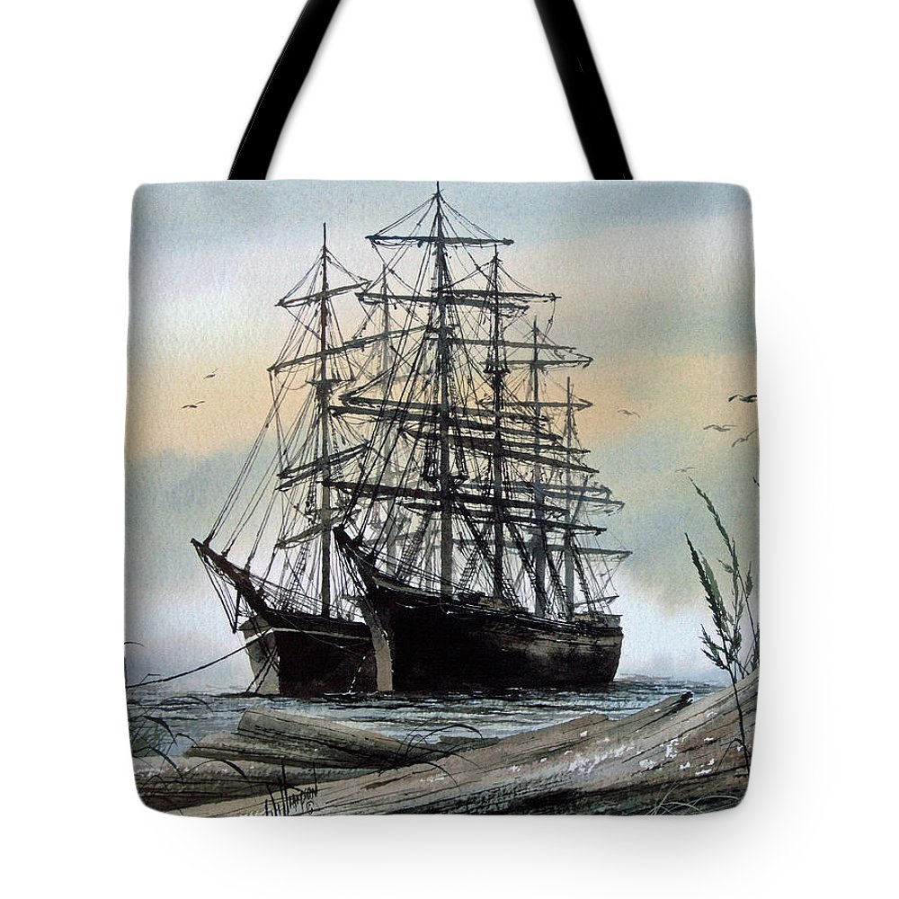 Tall Ship Tote Bag featuring the painting Squarerigger Cove by James Williamson