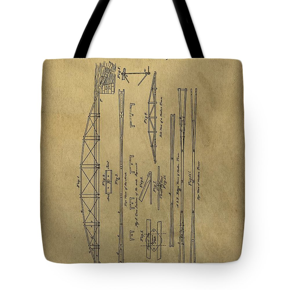 Squire Whipple Truss Bridge Patent Tote Bag featuring the drawing Squire Whipple Truss Bridge Patent by Dan Sproul