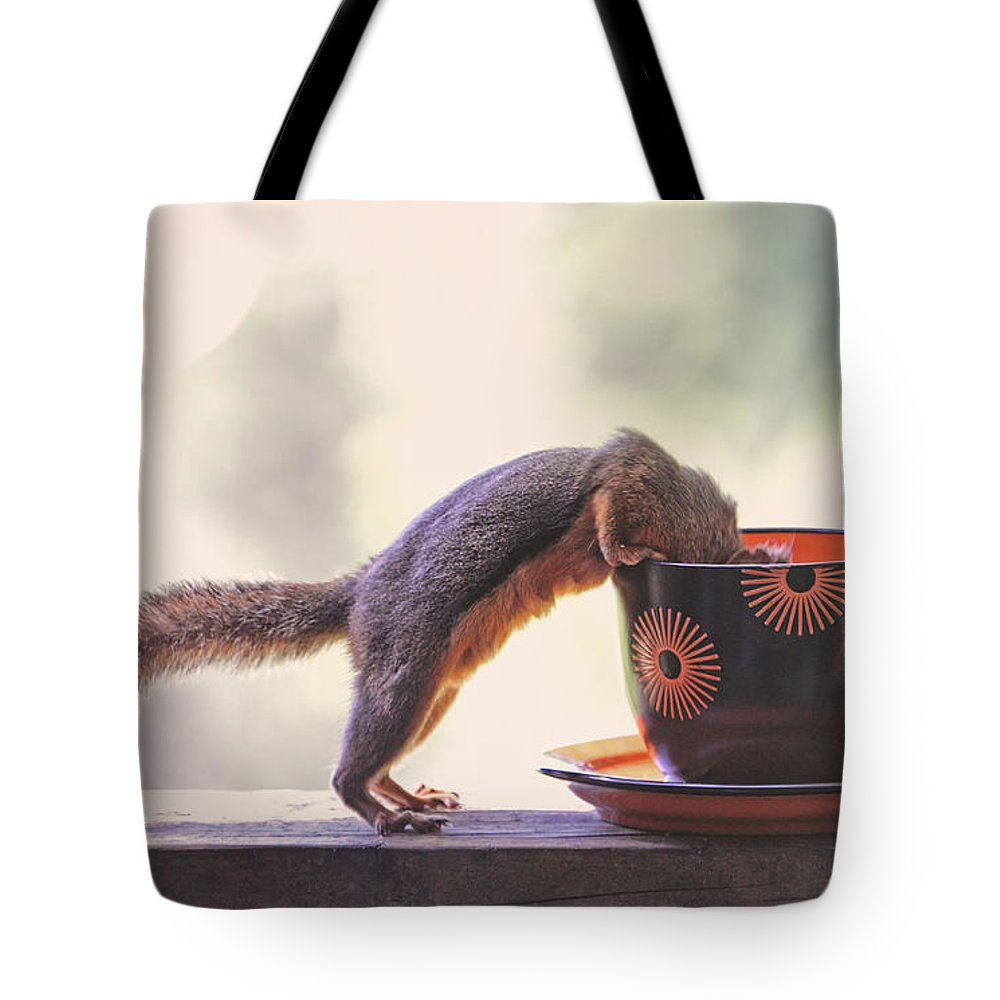 Squirrels Tote Bag featuring the photograph Squirrel And Coffee by Peggy Collins