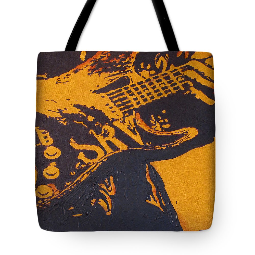 Stevie Ray Vaughan Tote Bag featuring the painting SRV Number One Fender Stratocaster by Eric Dee