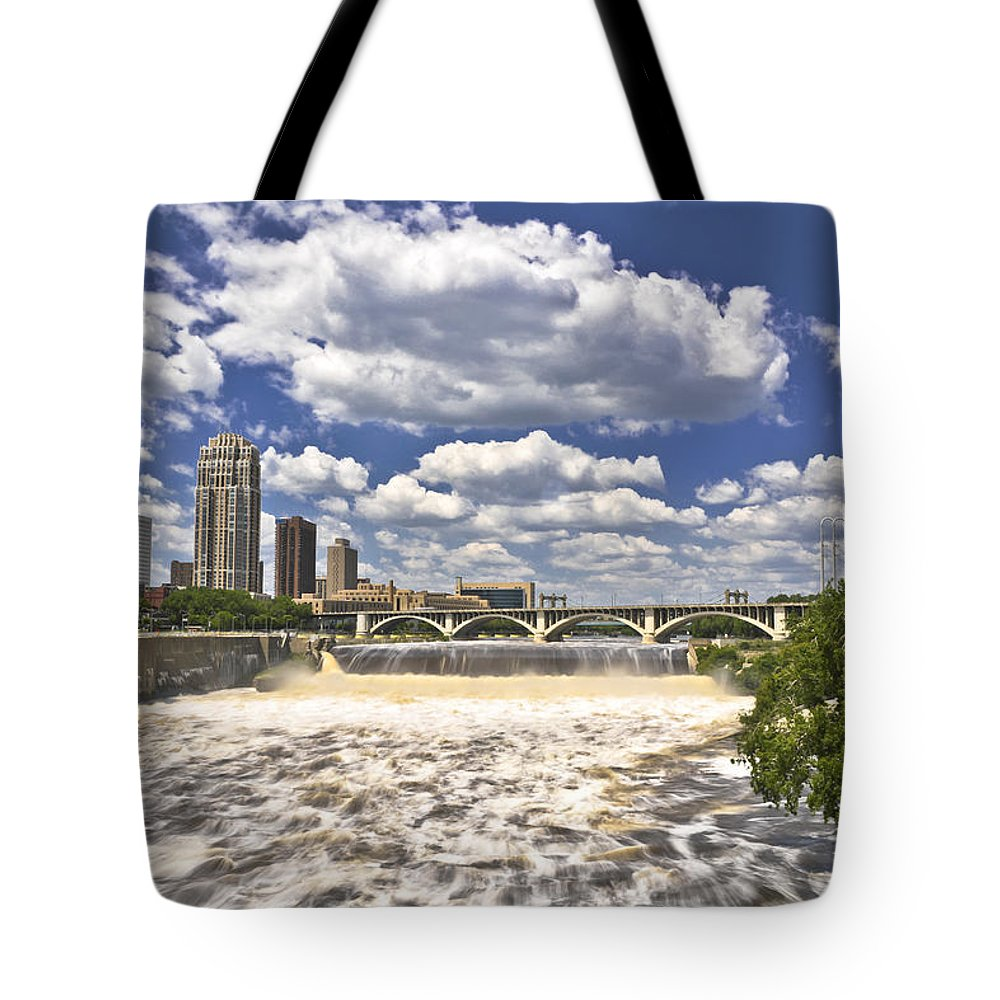 Waterfall Tote Bag featuring the photograph St. Anthony Falls 1 by David Berg