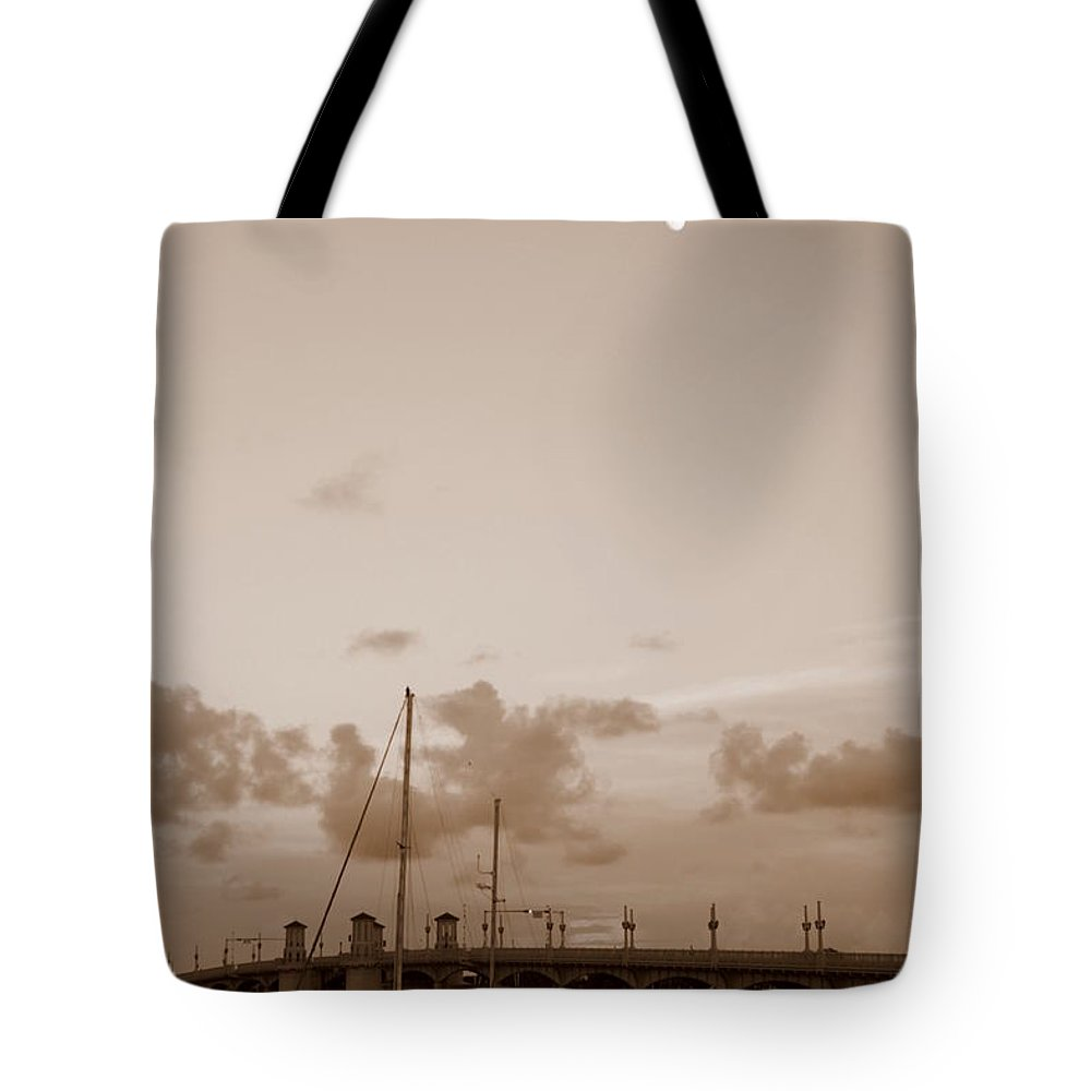 St. Augustine Tote Bag featuring the photograph St. Augustine In Sepia by Laurie Perry
