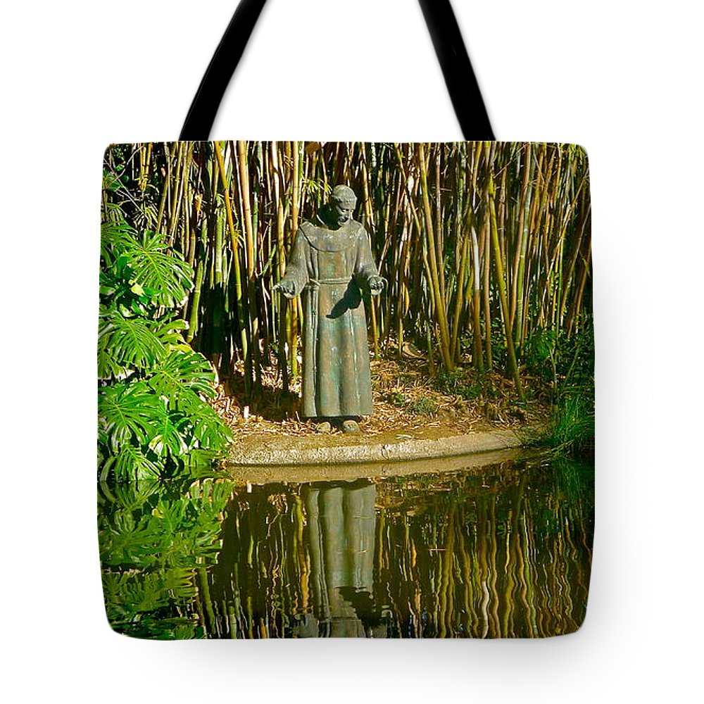 St. Francis Statue Tote Bag featuring the photograph St. Francis In Nature by Denise Mazzocco