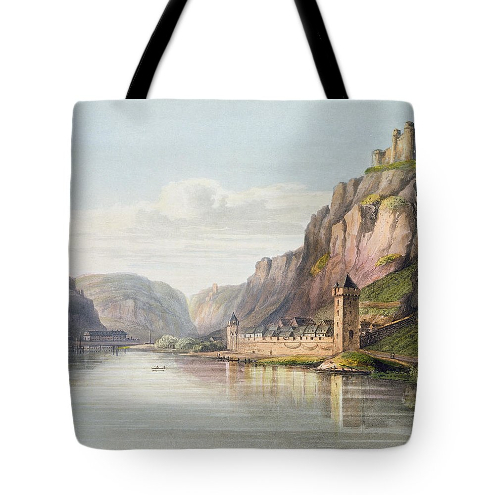 River Tote Bag featuring the drawing St. Goarshausen, St. Goar by Christian Georg II Schutz or Schuz