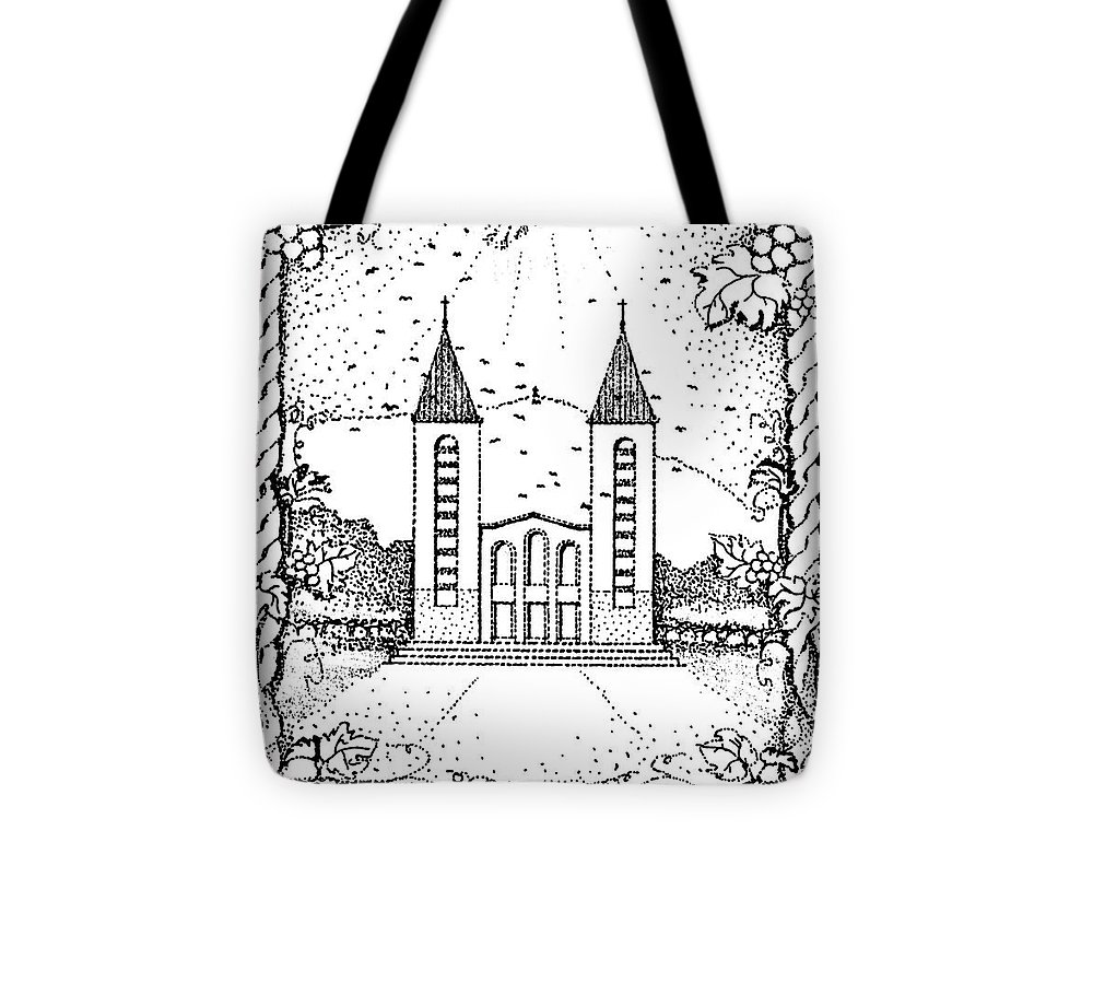 Saint Tote Bag featuring the drawing St James And Dove by Christina Verdgeline