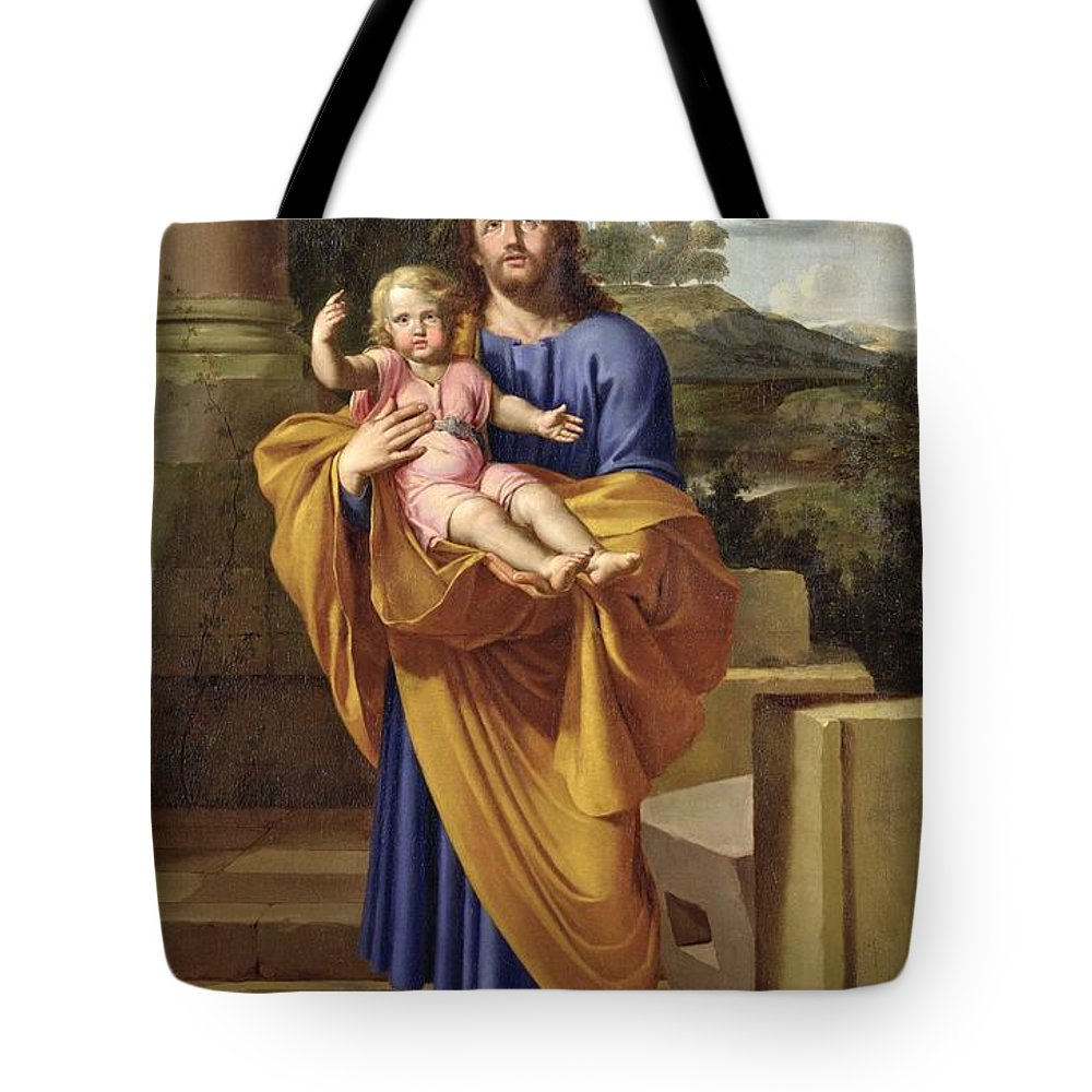Saint Joseph Tote Bag featuring the painting St. Joseph Carrying The Infant Jesus by Pierre Letellier