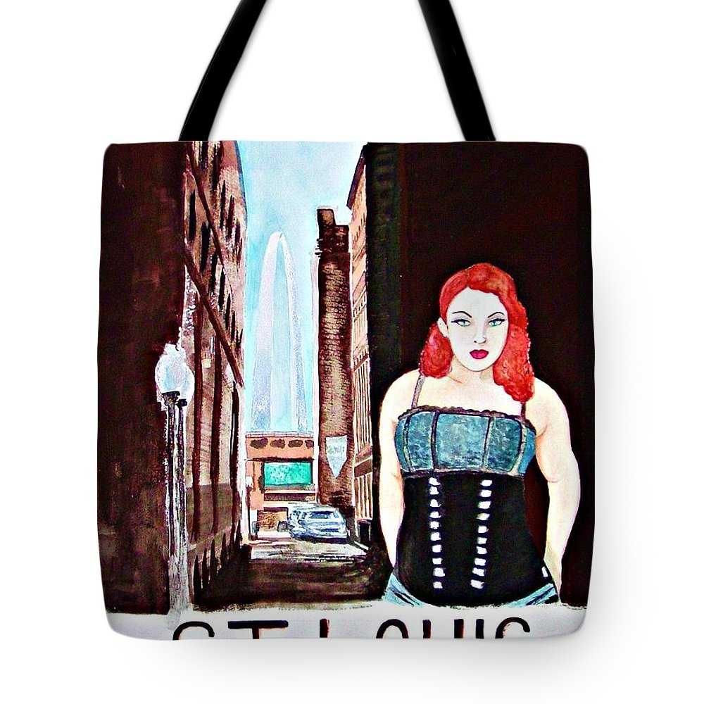 St. Louis Missouri Woman Arch Cityscape Travel America Street Skyline Tote Bag featuring the painting St. Louis 2008 by Ken Higgins