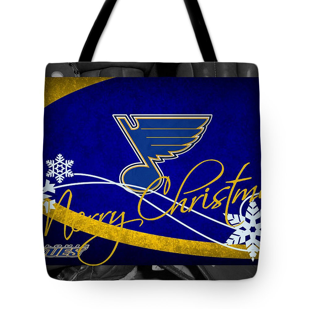 Blues Tote Bag featuring the photograph St Louis Blues Christmas by Joe Hamilton