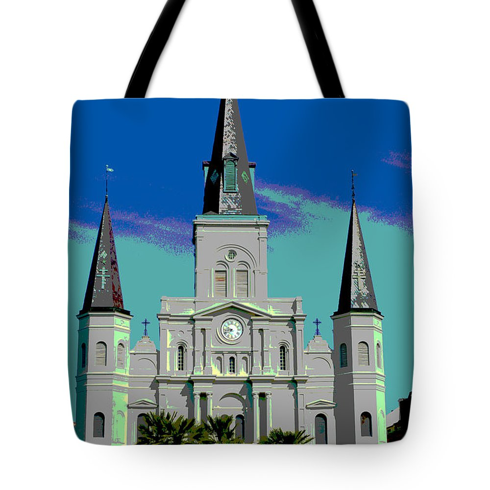 St. Louis Cathedral Tote Bag featuring the digital art St Louis Cathedral 3 by Alys Caviness-Gober