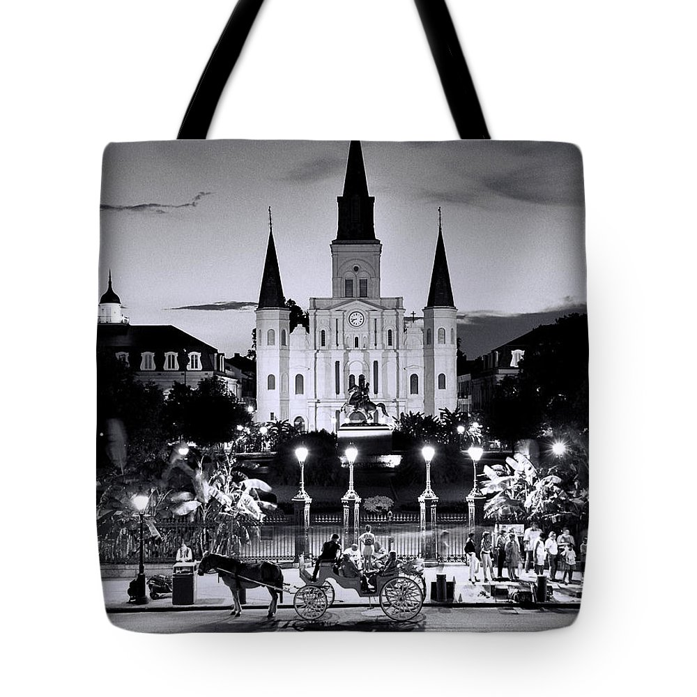 Black And White Photograph Tote Bag featuring the photograph St. Louis Cathedral New Orleans by Allen Beatty