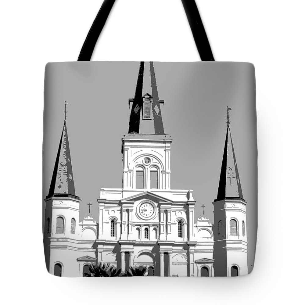 St. Louis Cathedral Tote Bag featuring the digital art St Louis Cathedral Poster 1 by Alys Caviness-Gober