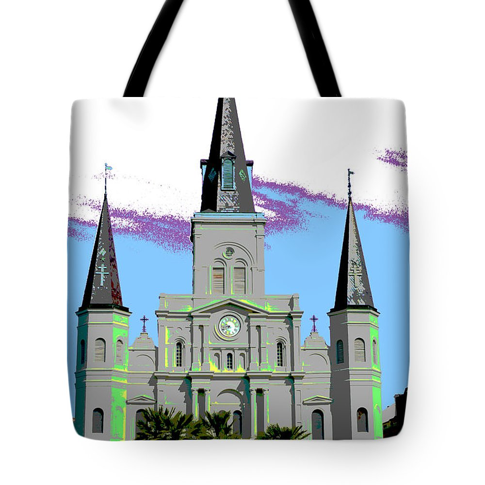 St. Louis Cathedral Tote Bag featuring the digital art St Louis Cathedral Poster 2 by Alys Caviness-Gober