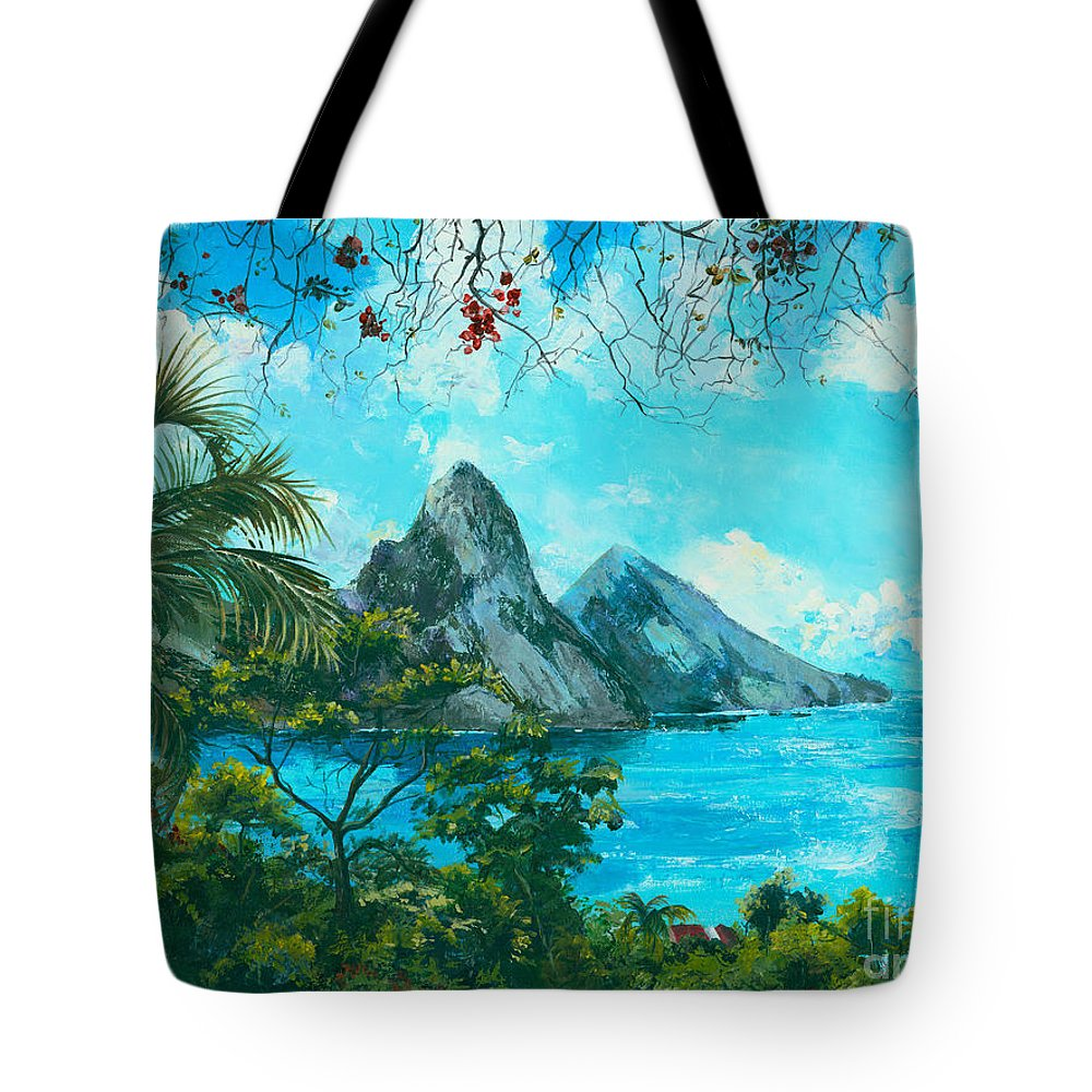 Mountains Tote Bag featuring the painting St. Lucia - W. Indies by Elisabeta Hermann