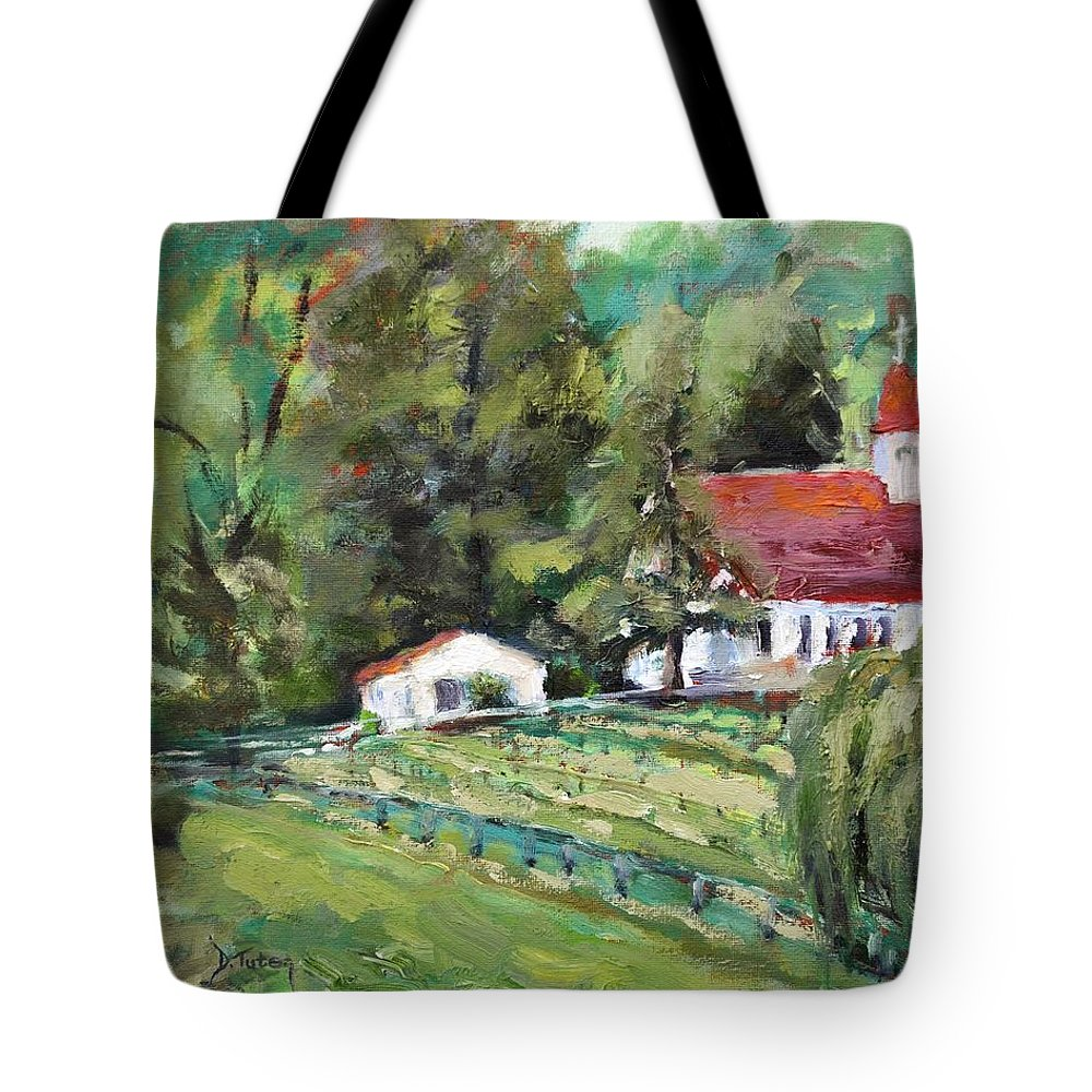 Church Tote Bag featuring the painting St. Lukes Church And Jefferson Vineyards In Charlottesville Va by Donna Tuten