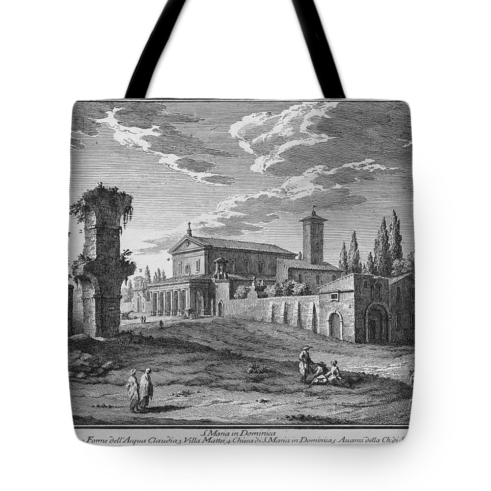 Giuseppe Vasi Tote Bag featuring the drawing St Maria In Domenica by Giuseppe Vasi