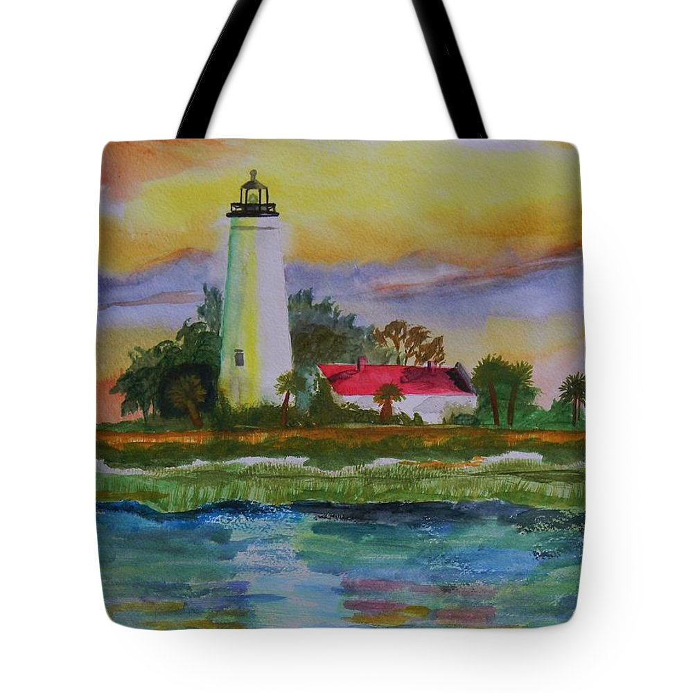 Landscape Tote Bag featuring the painting St. Marks Lighthouse-2 by Warren Thompson