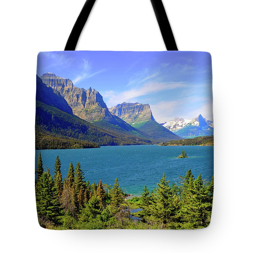 Scenics Tote Bag featuring the photograph St. Mary Lake, Glacier National Park by Dennis Macdonald