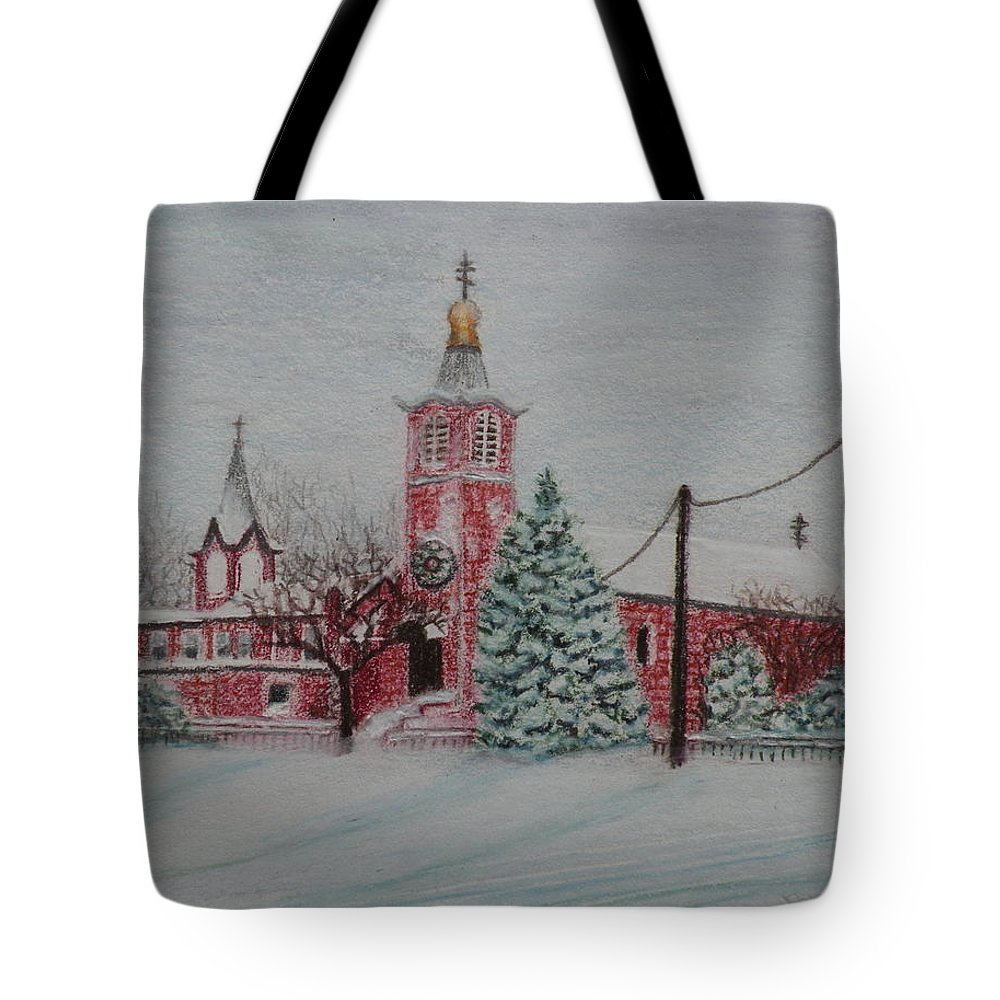 Prismacolor Pencil Tote Bag featuring the drawing St. Nicholas Church Roebling New Jersey by Lora Duguay