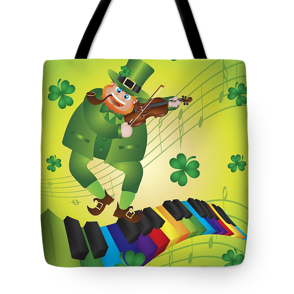 St Patricks Tote Bag featuring the photograph St Patricks Day Leprechaun Dancing On Piano Keyboard by Jit Lim