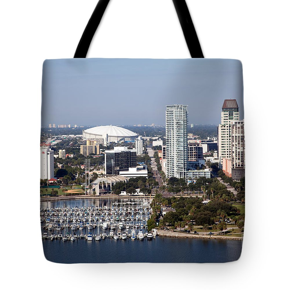 Demens Landing Park Tote Bag featuring the photograph St Pete Florida by Bill Cobb