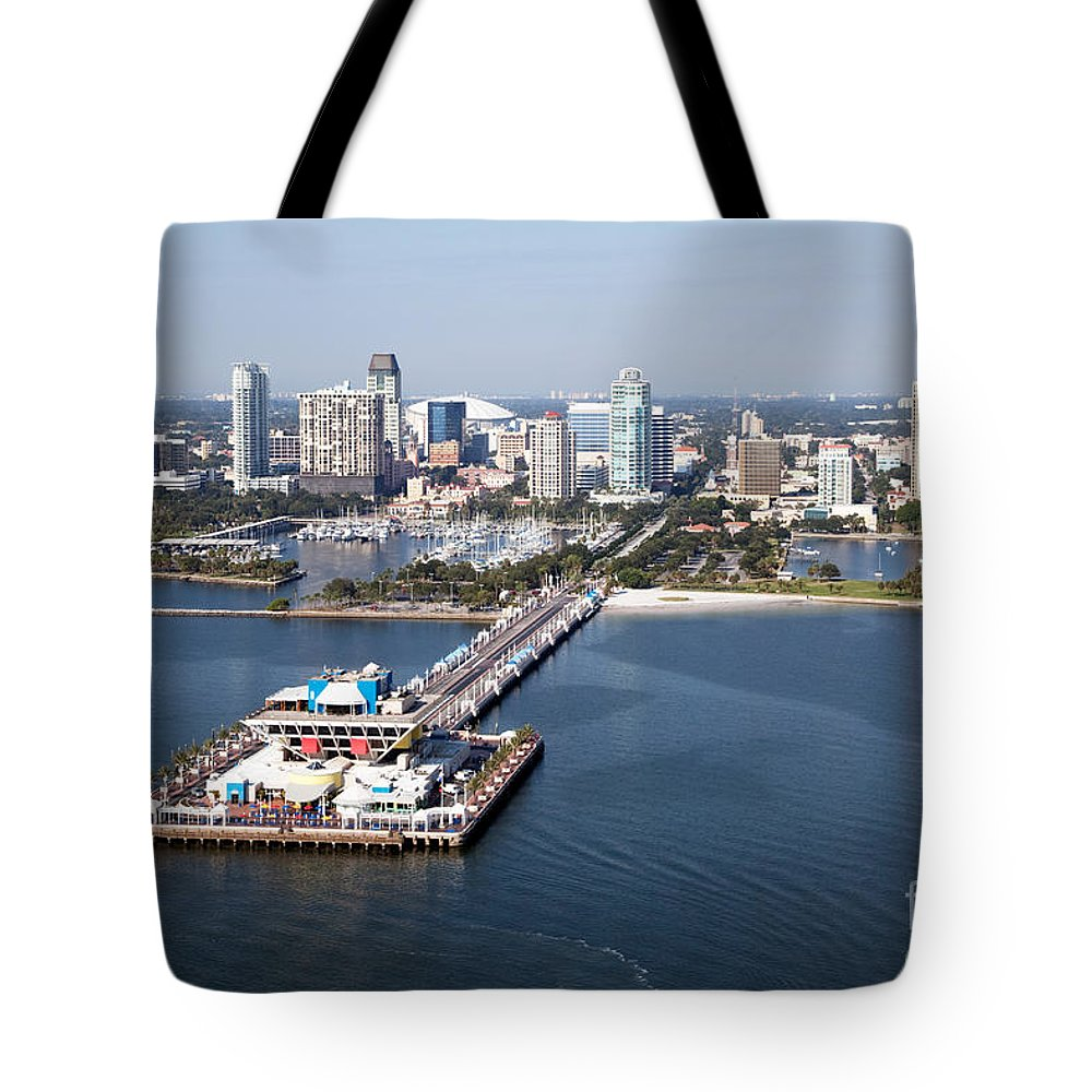 Florida Tote Bag featuring the photograph St Petersburg Skyline And Pier by Bill Cobb