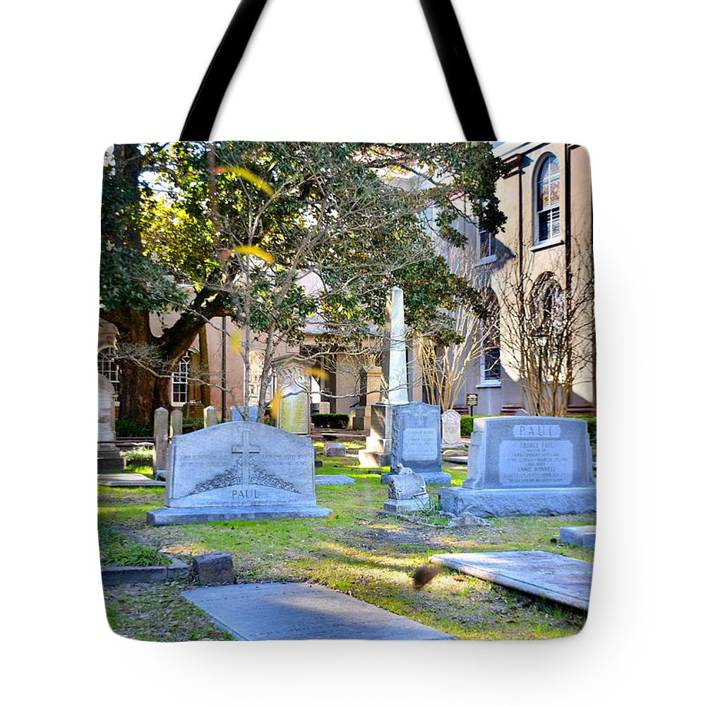 St. Philip's Episcopal Church Cemetery Tote Bag featuring the photograph St. Philips Church Cemetery Charleston Sc by Lisa Wooten