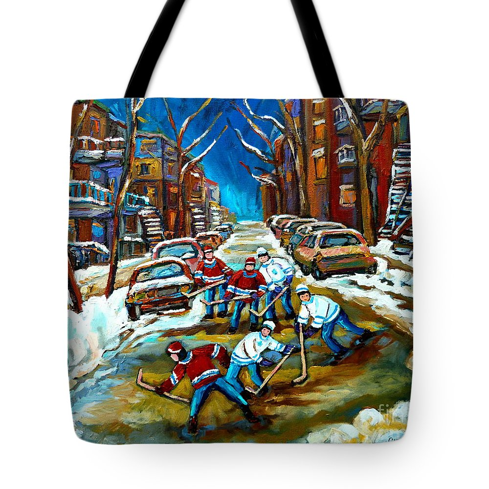 Montreal Tote Bag featuring the painting St Urbain Street Boys Playing Hockey by Carole Spandau