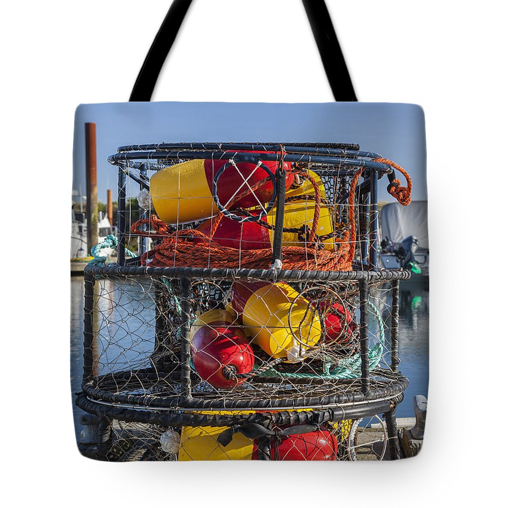 Charleston Marina Tote Bag featuring the photograph Stack Of Crab Pots by Bryan Mullennix