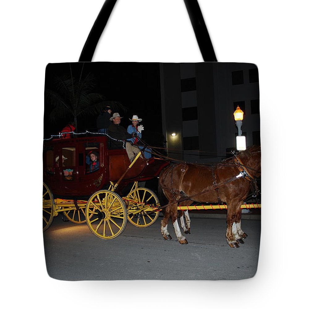 Edison Parade Of Lights Tote Bag featuring the photograph Stagecoach And Horses by Robert Floyd