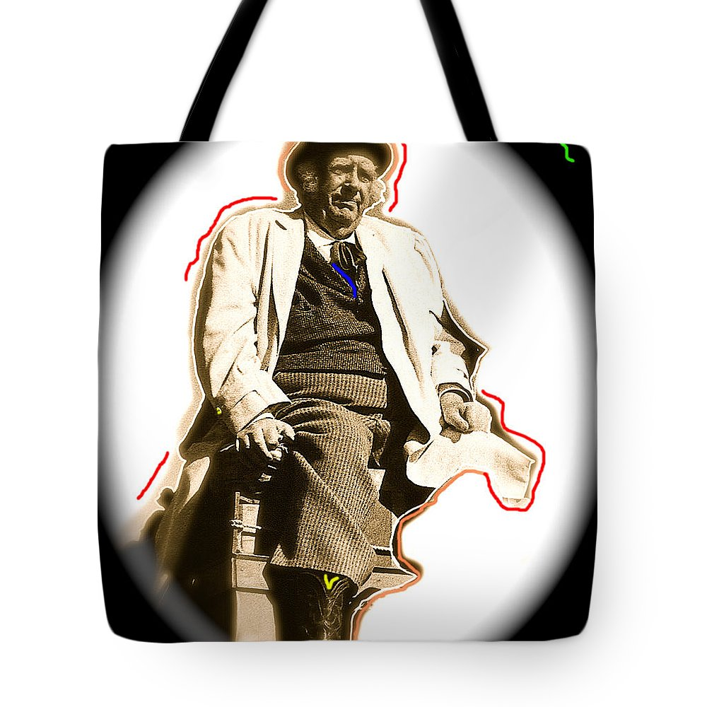 Stagecoach Homage 1939 Andy Devine On Stage Old Tucson Arizona Color Added Vignetted Tote Bag featuring the photograph Stagecoach Homage 1939 Andy Devine On Stage Old Tucson Arizona by David Lee Guss
