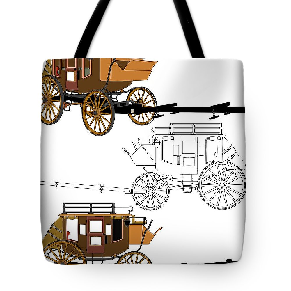 Wagon Tote Bag featuring the mixed media Stagecoach Without Horses - Color Sketch Drawing by Nenad Cerovic