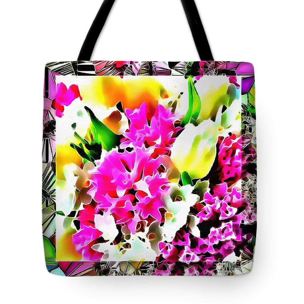 Stain Glass Framed Florals Tote Bag featuring the painting Stain Glass Framed Florals by Catherine Lott