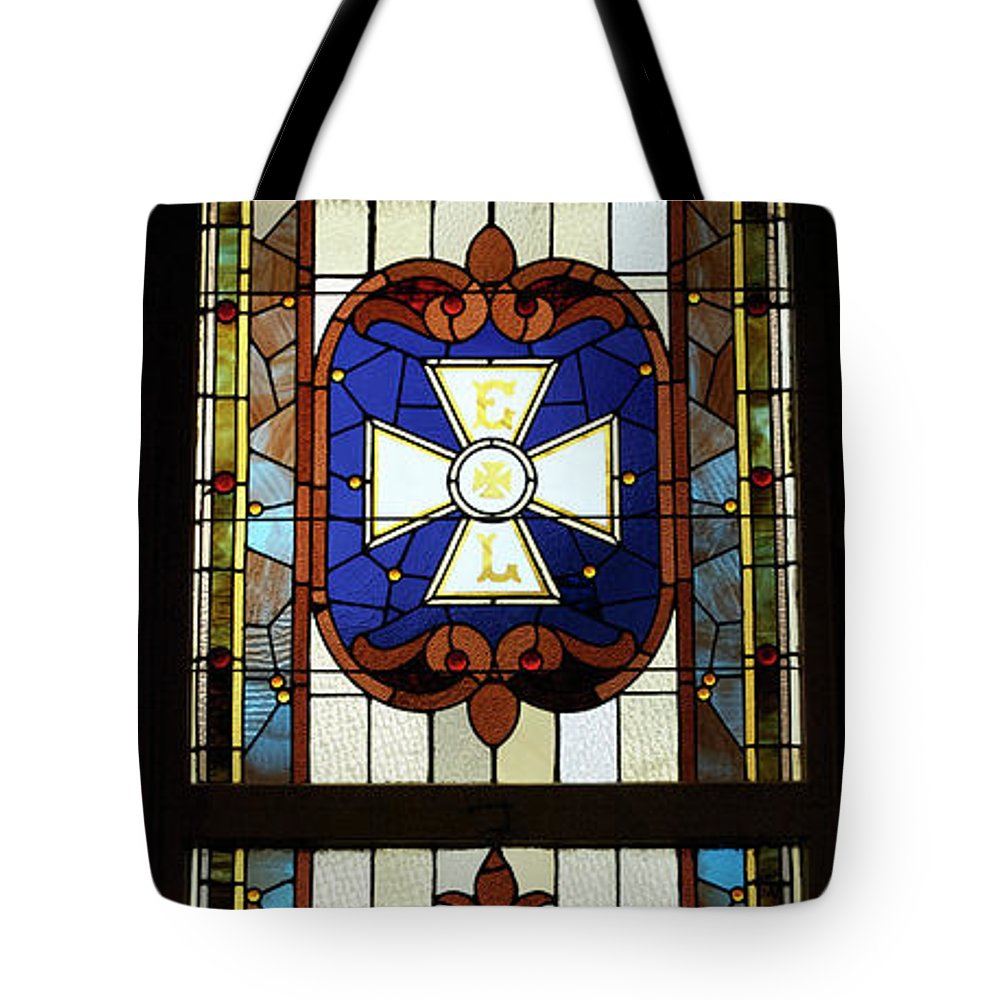Composite Tote Bag featuring the photograph Stained Glass 3 Panel Vertical Composite 01 by Thomas Woolworth