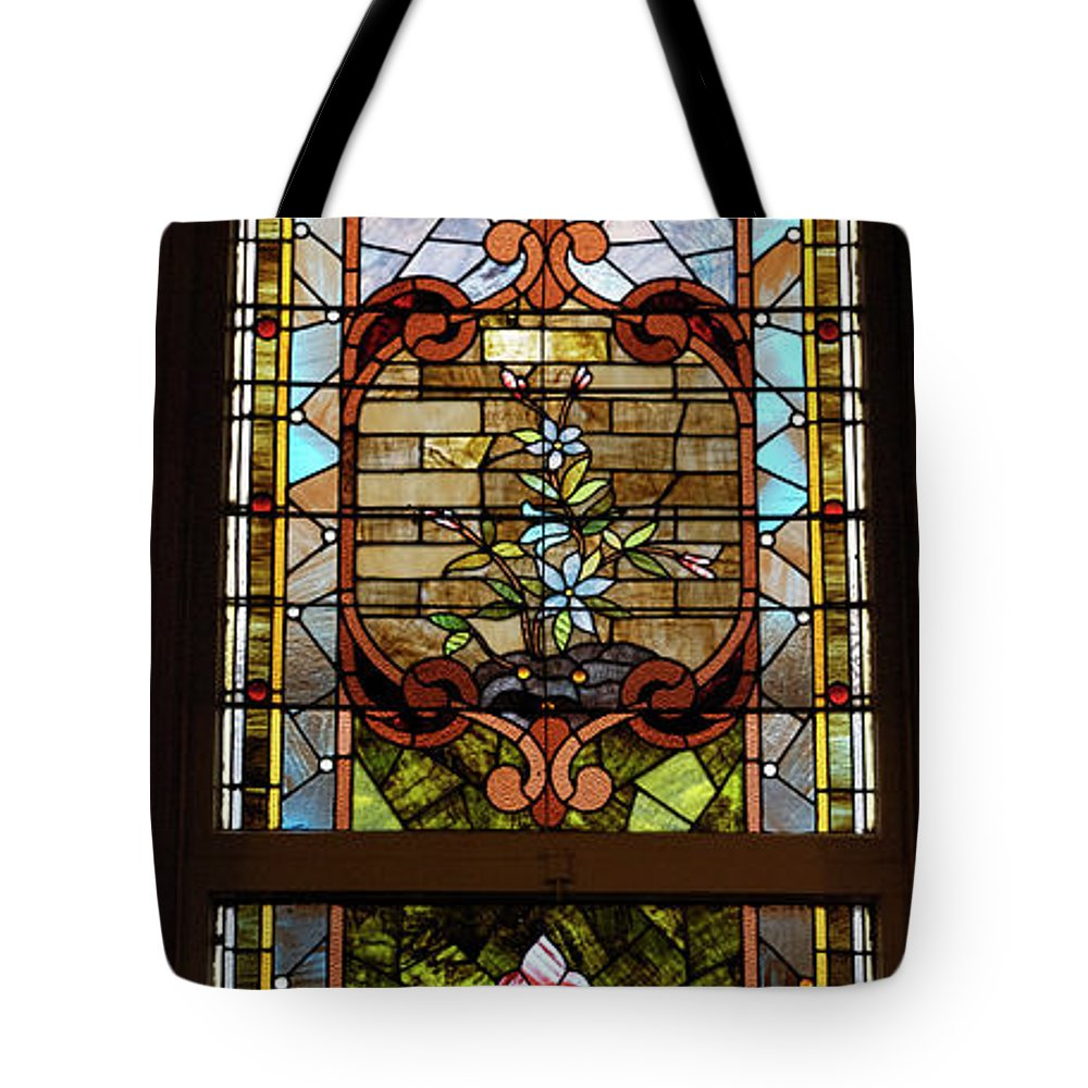 Composite Tote Bag featuring the photograph Stained Glass 3 Panel Vertical Composite 02 by Thomas Woolworth