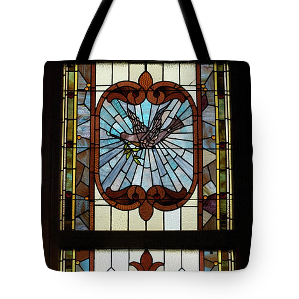 Composite Tote Bag featuring the photograph Stained Glass 3 Panel Vertical Composite 03 by Thomas Woolworth