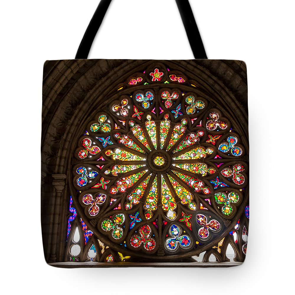 Stained Tote Bag featuring the photograph Stained Glass Details by Jess Kraft