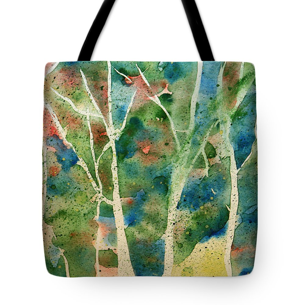 Abstract Tote Bag featuring the painting Stained Glass Forest In Spring by Maura Satchell