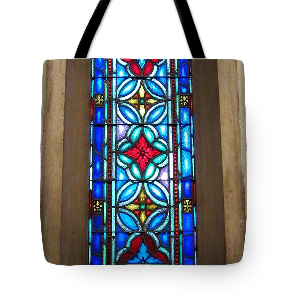 Lutheran Tote Bag featuring the photograph Stained Glass In Redeemer Lutheran by Cynthia Clark