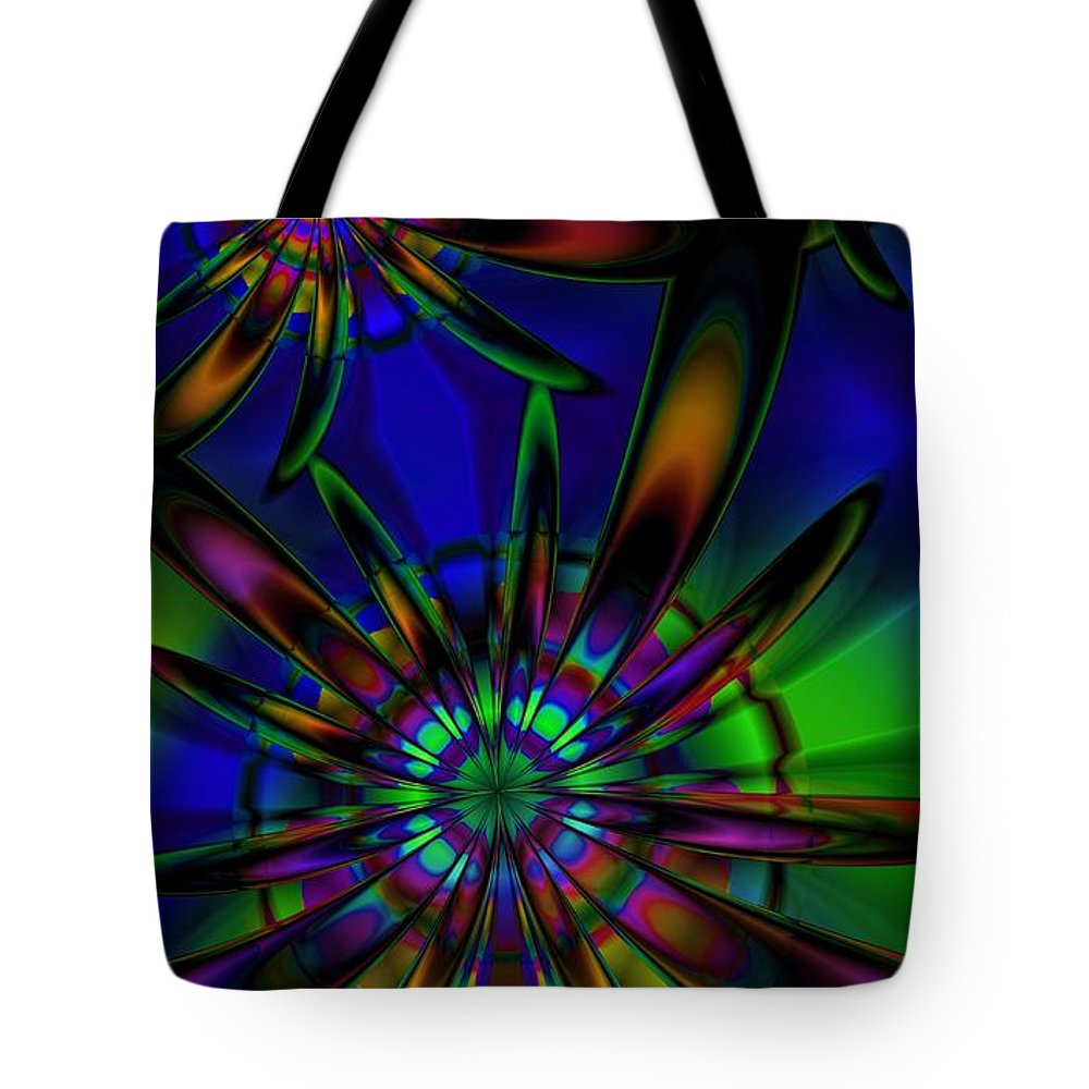 Flower Tote Bag featuring the digital art Stained Glass Passion Flowers by Kiki Art