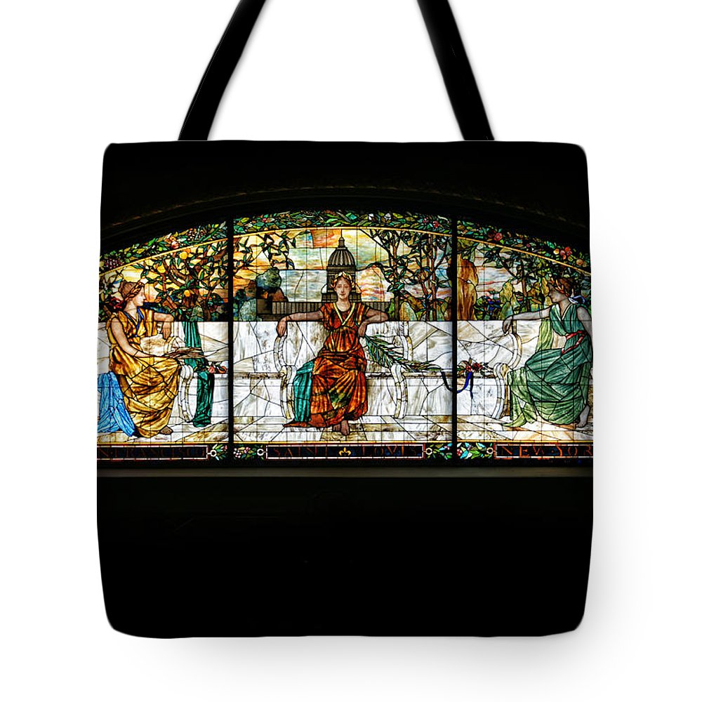 Stained Glass Tote Bag featuring the photograph Stained Glass Window by Alan Hutchins
