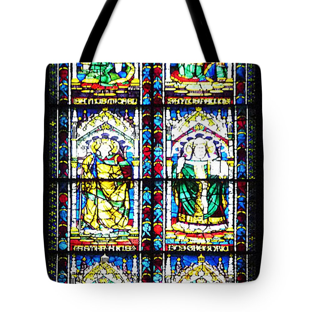 Window Tote Bag featuring the photograph Stained Glass Window Of Santa Maria Del Fiore Church Florence Italy by Irina Sztukowski