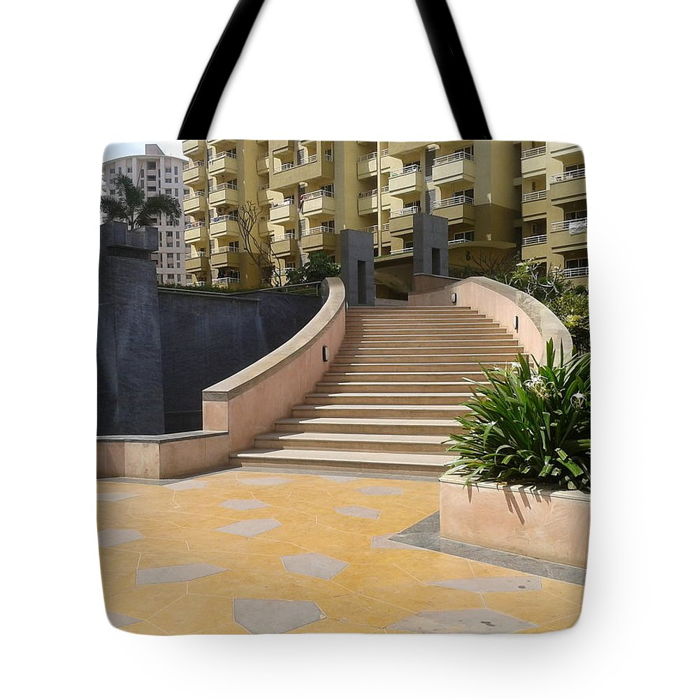 Stair Case Tote Bag featuring the photograph Stair Case by Artist Nandika Dutt