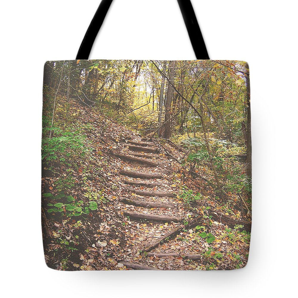 Photography Tote Bag featuring the photograph Stairs Into The Forest by Phil Perkins