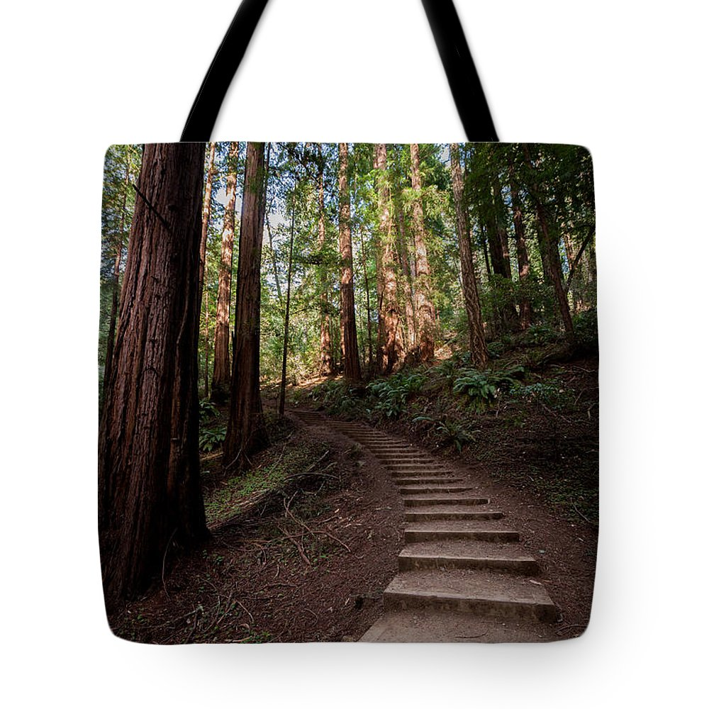 California Tote Bag featuring the photograph Stairs Into The Woods by Alexander Fedin