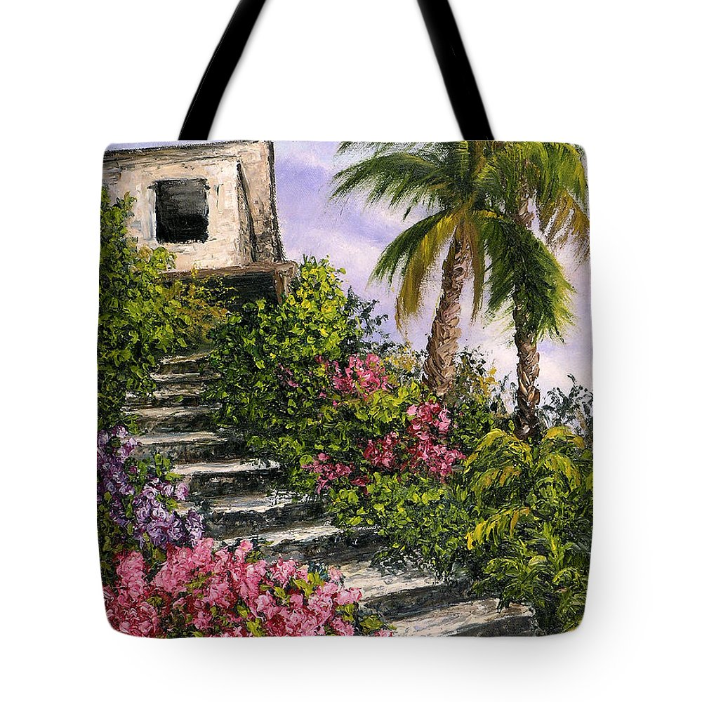Mexico Tote Bag featuring the painting Stairway Garden by Darice Machel McGuire