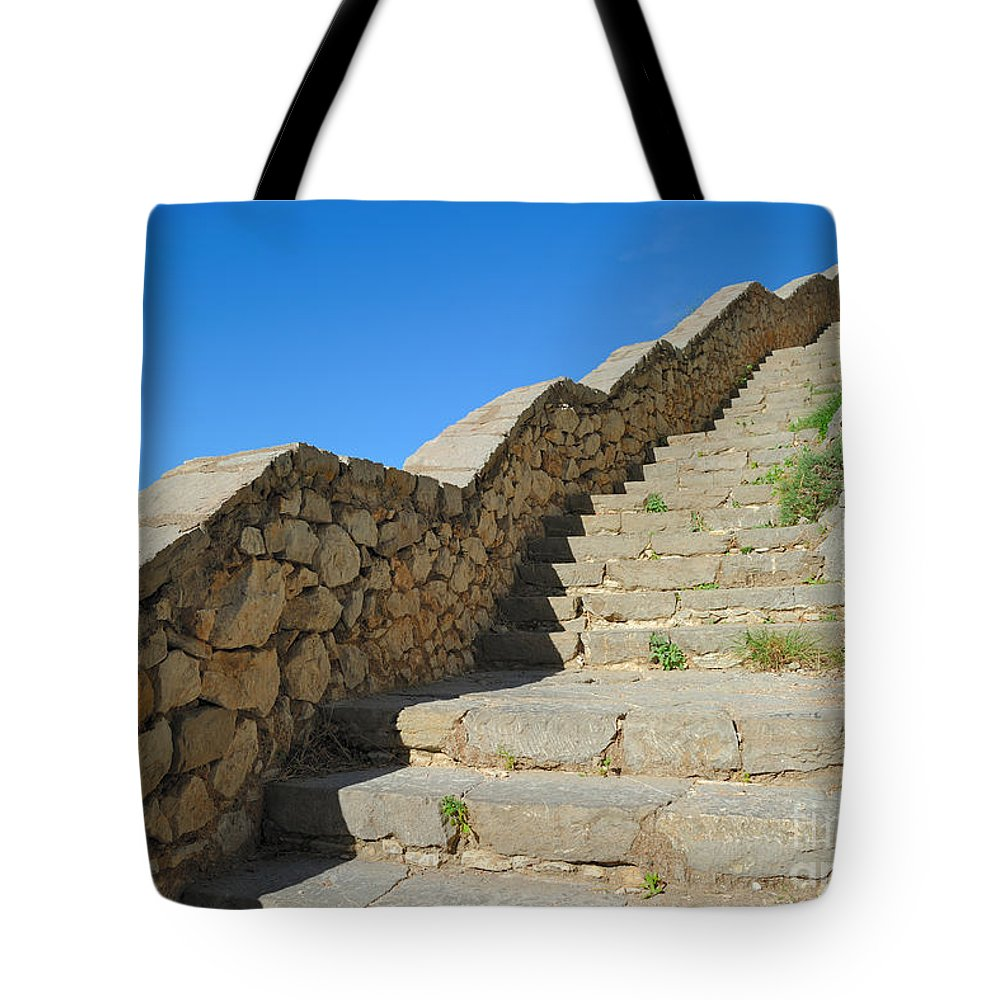 Stairway Tote Bag featuring the photograph Stairway To Palamidi by Grigorios Moraitis