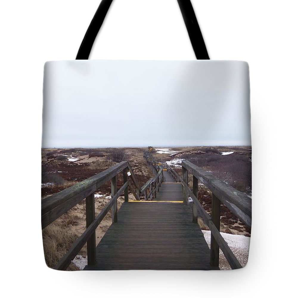 Sandy Point Tote Bag featuring the photograph Stairway To The Atlantic by Two Bridges North